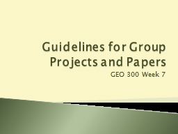 Guidelines for Group Projects and Papers