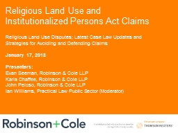 Religious Land Use and Institutionalized Persons Act Claims