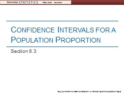 Confidence Intervals for a Population Proportion