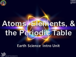 Atoms, Elements, & the Periodic Table