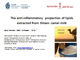 The anti-inflammatory properties of lipids extracted from Omani camel milk PowerPoint PPT Presentation
