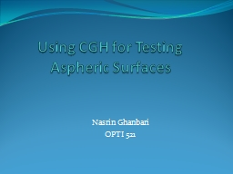 Using CGH for Testing Aspheric Surfaces