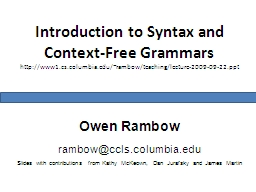 Introduction to Syntax and