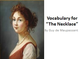"Vocabulary for ""The Necklace"""