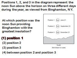 Positions 1, 2, and 3 in the diagram represent the noon Sun above the horizon on three different days during the year, as viewed from Binghamton, N Y.