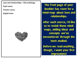 The front page of your booklet has room for a mind-map about love and relationships.