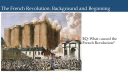 The French Revolution: Background and Beginning