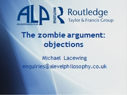 The zombie argument: objections