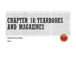 Chapter 18: Yearbooks and Magazines