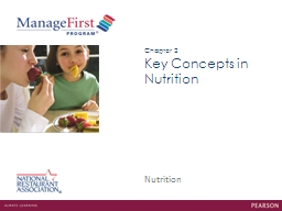 Key Concepts in Nutrition