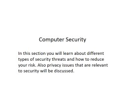 Computer Security In this