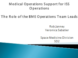 Medical Operations Support for ISS Operations