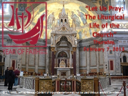 """""""Let Us Pray:  The Liturgical Life of the Church"""""""