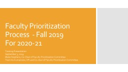 Faculty Prioritization Process  - Fall 2019