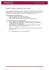Question Paper Despatch User Guide This user guide