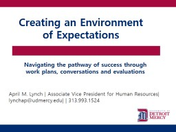 Creating an Environment of Expectations