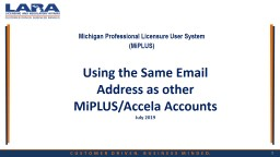 Using the Same Email Address as other MiPLUS/Accela Accounts