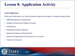Lesson 8: Application Activity