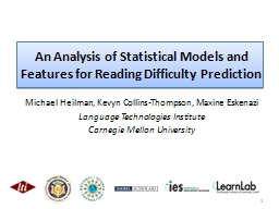 An Analysis of Statistical Models and Features for Reading Difficulty Prediction