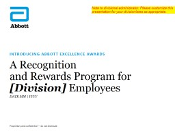 A Recognition  and Rewards Program for