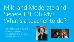 Mild and Moderate and Severe TBI, Oh My! What's a teacher to do?