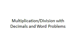 Multiplication/Division with Decimals and Word Problems