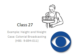 Class 27 Example: Height and Weight