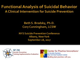 Functional Analysis of Suicidal Behavior