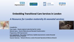 Embedding Transitional Care Services in London