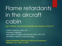 Flame retardants in the aircraft cabin