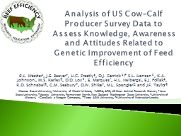 Analysis of US Cow-Calf Producer Survey Data to Assess Knowledge, Awareness and
