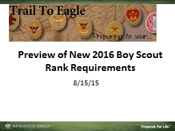 Preview of New 2016 Boy Scout Rank Requirements