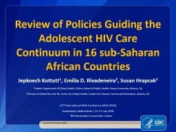 Review of Policies Guiding the Adolescent HIV Care Continuum in 16 sub-Saharan African Countries