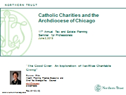 June 2, 2015 Catholic Charities and the Archdiocese of Chicago