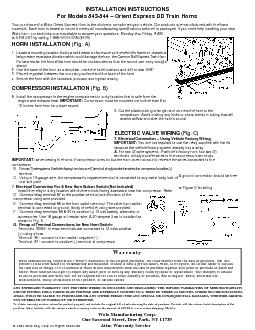 INSTALLATION INSTRUCTIONS For Models   Orient Express DD Train Horns Your purchase of a Wolo Orient Express Horn is the choice to compliment your vehicle