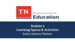 Module 4 Learning Spaces & Activities