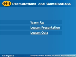 11-1 Permutations and Combinations