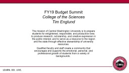 FY19 Budget Summit College of the Sciences PowerPoint PPT Presentation