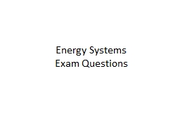 Energy Systems Exam Questions