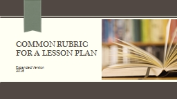 Common Rubric for a lesson Plan