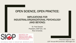 Open Science, Open Practice: