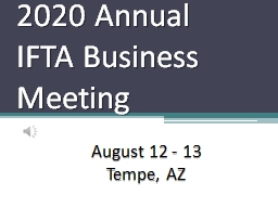 2020 Annual IFTA Business Meeting