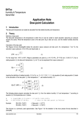 Application note dew point calculation
