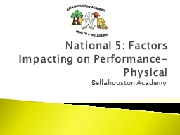 National 5: Factors Impacting on Performance- Physical