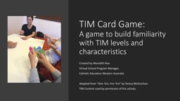 TIM Card Game:  A game to build familiarity with TIM levels and characteristics