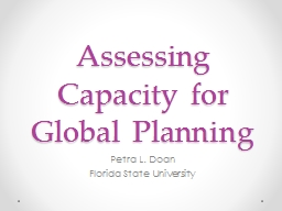 Assessing Capacity for Global Planning