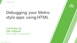 Debugging your Metro style apps using HTML