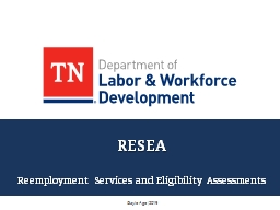 RESEA Reemployment Services and Eligibility Assessments