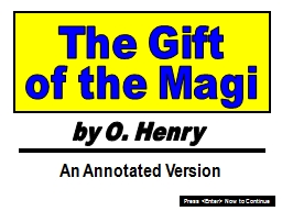 The Gift by O. Henry