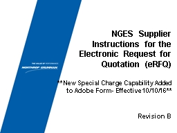 NGES Supplier Instructions for the
